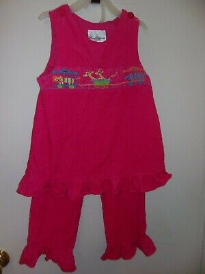 Carnival Themed Outfits (GIRLS 6X 2 PIECE PINK CORDUROY OUTFIT CIRCUS ANIMALS THEMED SMOCKING RARE)