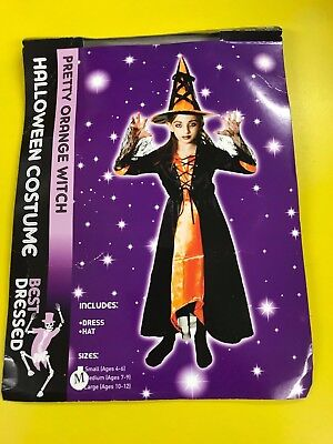 Halloween Girls Pretty Orange Witch Fancy Dress Costume - Age 7 - 9](Halloween Costumes For Girls Age 9)