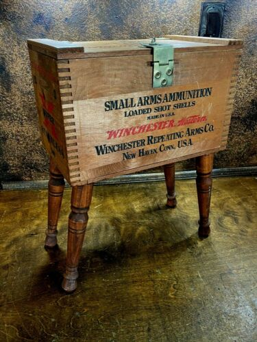 Vintage WINCHESTER Wood Ammo Crate / Ammunition Shipping Box /  Made into Table