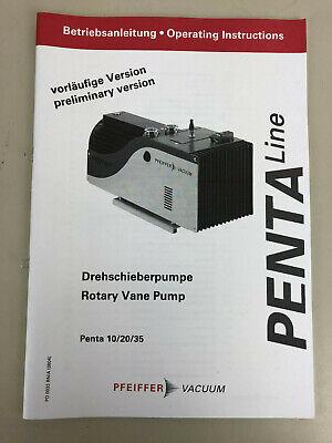 Pfeiffer Penta 102035 Rotary Vane Pump Operating Manual