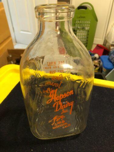 Vintage Hopson Dairy Anderson CA half gallon milk bottle