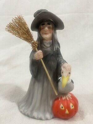 Vintage - Ceramic Witch Vulture Broom Pumpkin Figurine 1985