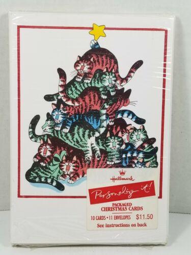 "RARE Vtg 1981 Kliban Hallmark ""Personalize It"" Xmas Cards 10-pack, Unused/Sealed"