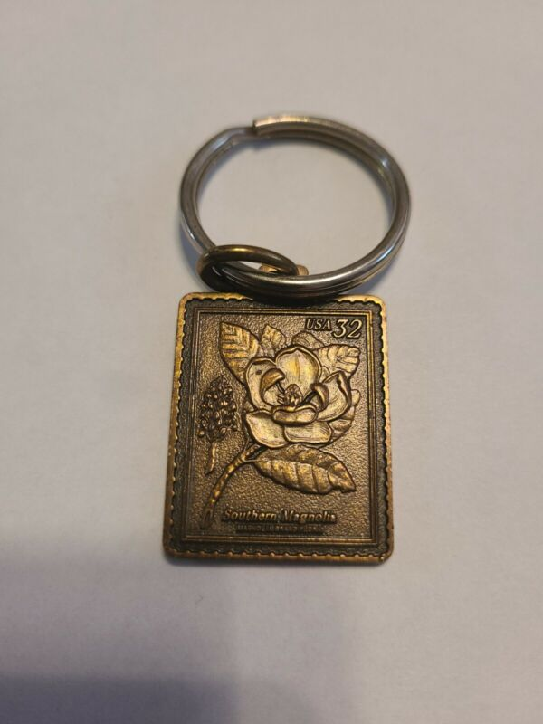 "USA 32 Cent Stamp Keychain Brass Southern Magnolia Flower - Mississippi 1.5""×1"""