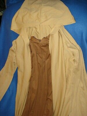 Star Wars Obi Wan Costume - Hooded Tan Cape Brown Jumpsuit - Rubies Men Ex-Large