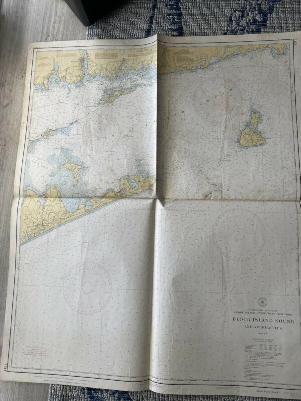 Original Nautical Chart Map Block Island Sound 1211 Issued 1941