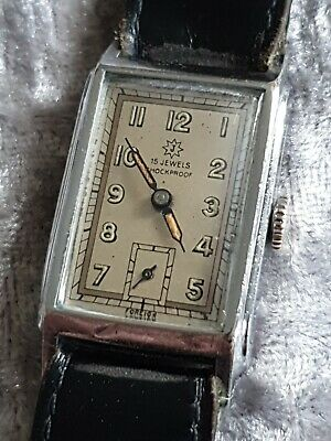 Rare Vintage Gents Deco Style JUNGHANS 15J Mechanical Hand Winding Tank Watch