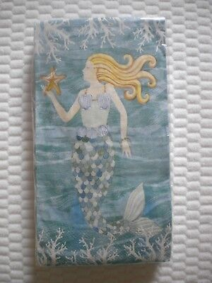20 Count 2 Ply Paper Guest Towels Napkins MERMAID WAVES Theme Creative - Paper Guest Towels