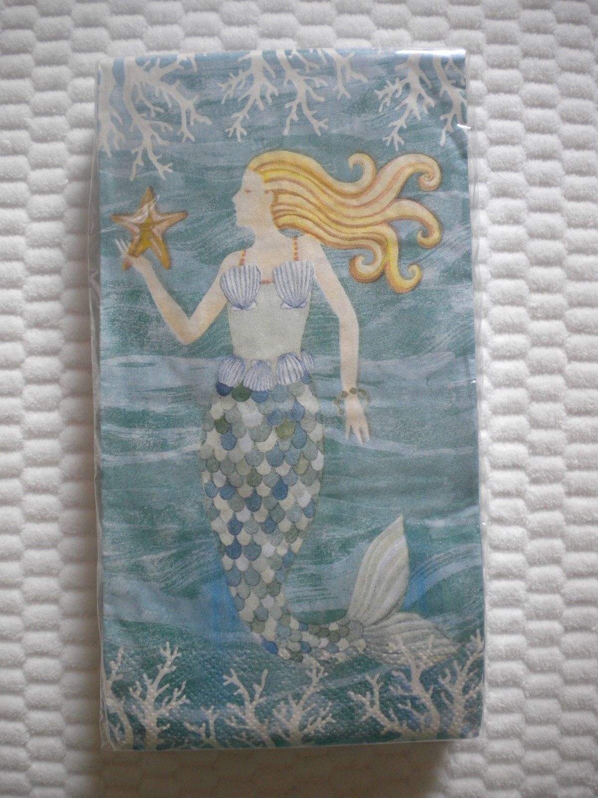 20 Count 2 Ply Paper Guest Towels Napkins MERMAID WAVES Them