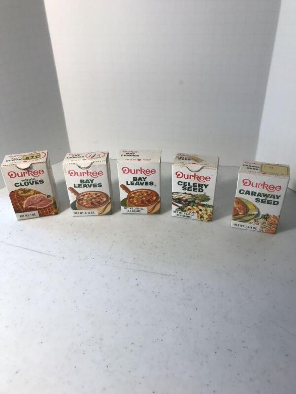 5 Vintage Boxes Of Durkee Seasonings