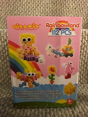 112Pc Click-A-Brick Rainbowland Building Blocks Set Best STEM Toys Boys Girls