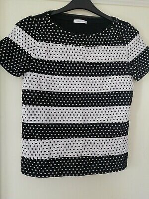 Ladies Black & White Short Sleeved IBLUES Top Size S