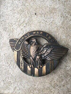 Antique Cast Bronze World War II 1941 1945 Eagle Wings Memorial Marker