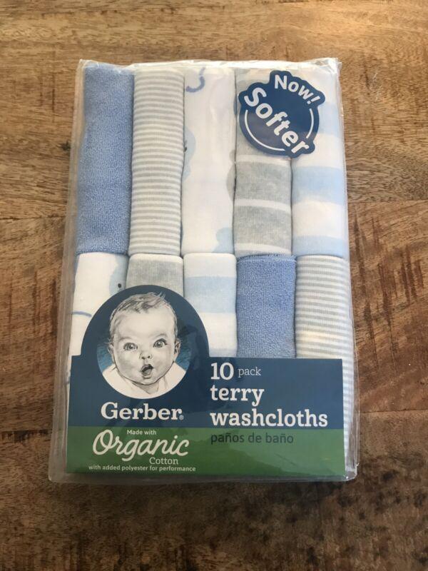 Gerber Baby Boy 10-Pack Blue Teddy Bear ORGANIC Terry Washcloths