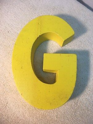 Letter G Big Vtg Wood Block Type Italic Font 8in X 5in X 1.5in Yellow