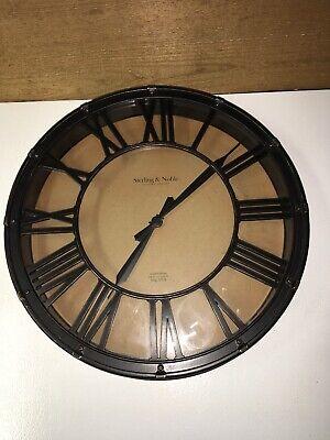 "STERLING & NOBLE Wall Clock Mfg. No. 9 Roman Numerals 15-3/8"""