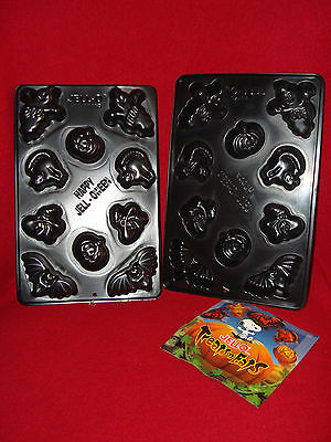 Halloween Jello Mold Recipes (2 HALLOWEEN Jello Jigglers HAPPY JELL O WEEN Black 10ct Mold w/Recipe Card)