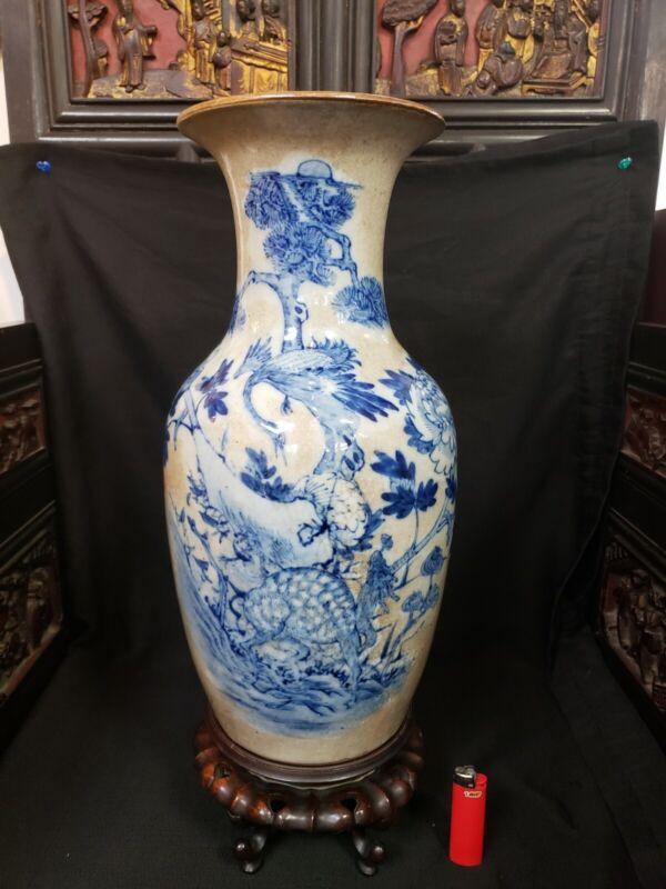 清,哥釉青花吉祥瓶,全品,H:45cm