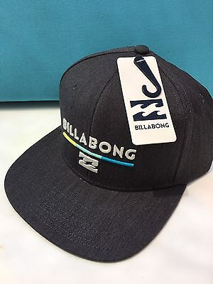 Billabong Men's System Snapback Flatbill Hat Dark Charcoal Gray (HEATHER BLACK) Billabong Black Hat