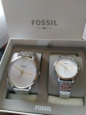 New Fossil His & Her Couple Set Diamond Lux Luther Watch BQ2467SET BQ2467 Her Couple Watches