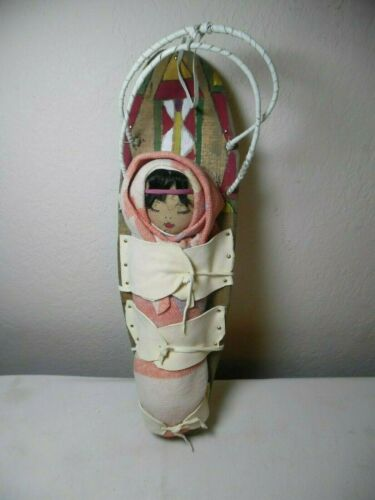 """VINTAGE NATIVE AMERICAN CROW INDIAN CLOTH STUFFED DOLL ON CRADLE BOARD 17 1/2"""""""