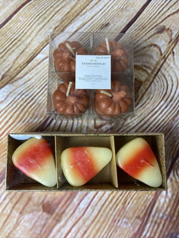 NIB Salem Collection Candy Corn Floating Candles & 4 Threshold Pumpkin Tealights