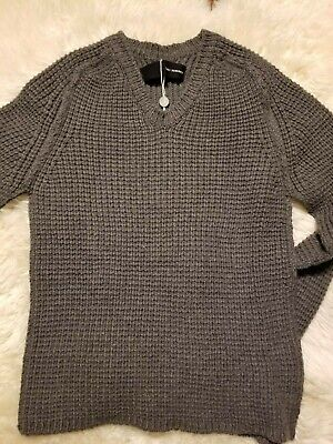 NWT ISABEL BENENATO WOOL SWEATER MADE IN ITALY M GUIDI JULIUS GRAY V-NECK