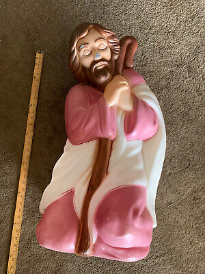 Vintage Retro Large Christmas Nativity Joseph Blow Mold with light