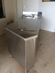 Stainless steel kitchen bench, built in fridge and sink Cronulla Sutherland Area Preview