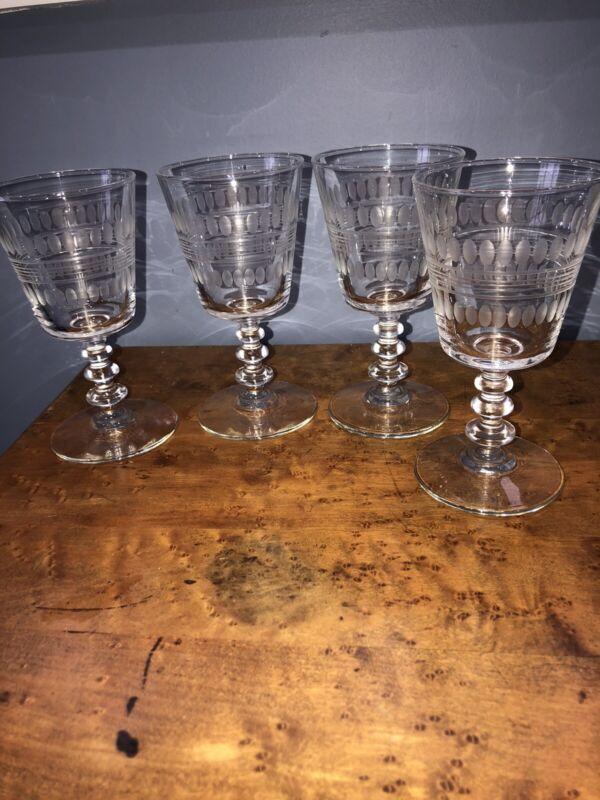 """Vintage Set Of (4) Etched 6 1/4"""" Wine Glasses Goblet Stemware"""