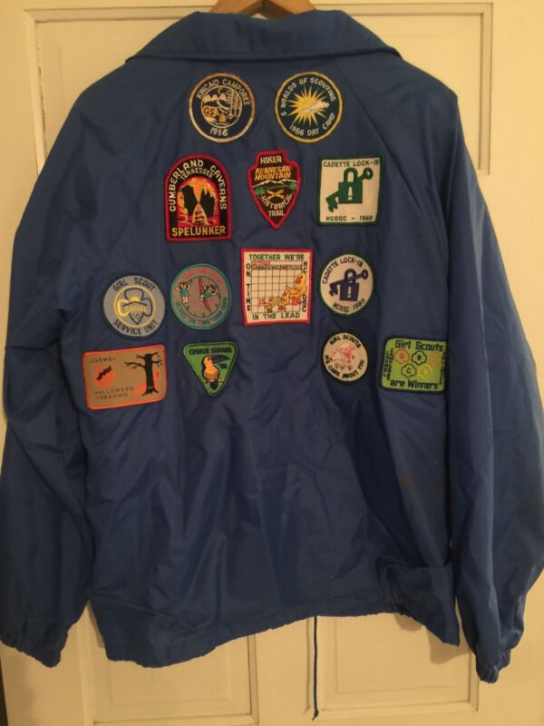 Vintage 1986-1989 Girl Scouts Patches Sewn On Blue Nylon Jacket Adult Size M