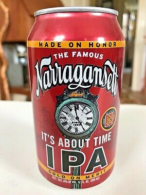 Narragansett Beer It's About Time I.P.A. 12oz Can Shepard Clock Rhode Island