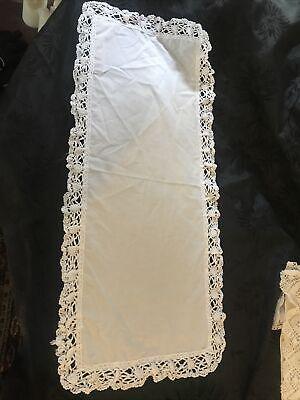 "Vintage White Cotton Lace Edge  33x14"" Table  Tray Cloth  Centre"