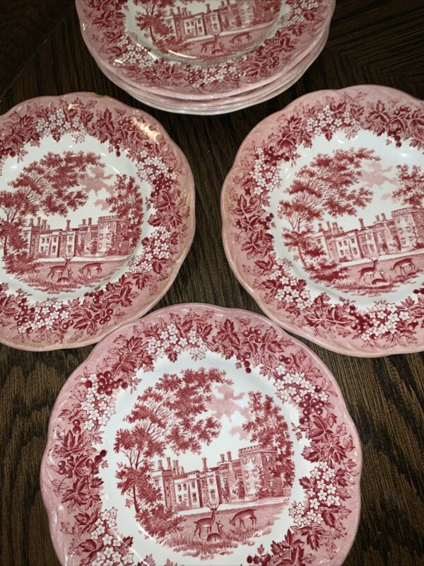 (7) J & G MEAKIN ROMANTIC ENGLAND RED TRANSFERWARE Haddon Hall Dessert Plates