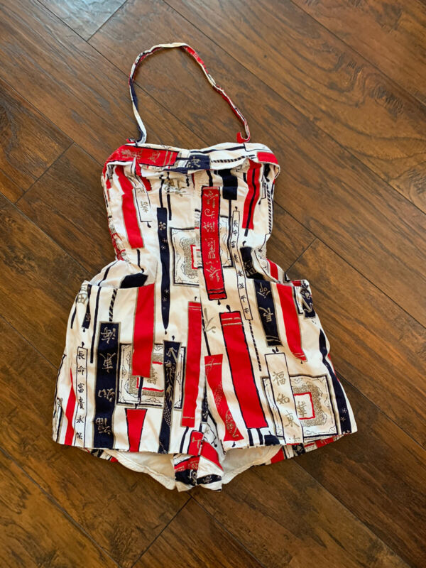 Alfred Shaheens Of Honolulu Rare Swimsuit Playsuit Rockabilly Pinup