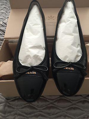 NIB Prada Cap-Toe Bow Ballet Flat - Black 39