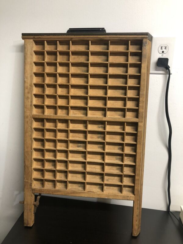 Vintage Printer Type Set Drawer Tray Display Shadow Box 98 Spaces
