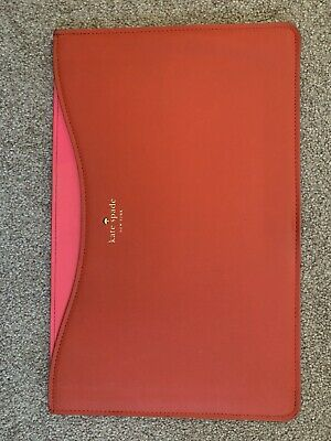 """Fab Kate Spade NY Laptop Tablet Sleeve MacBook Air 11"""" Pink Red  Folio USED"""
