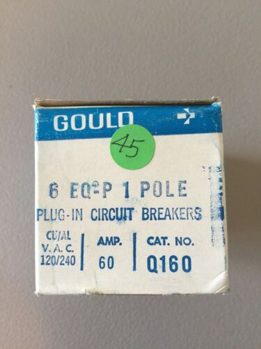 NEW IN BOX GOULD PLUG-IN CIRCUIT BREAKERS Q160 60AMP 120/240VAC SET OF 6