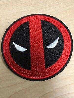 """Deadpool Embroidered Iron On Patch 3.5"""" Diameter Marvel"""
