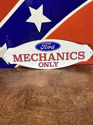 VINTAGE STYLE DOOR PUSH ''FORD MECHANICS 12X4 Inch Porcelain DOOR PUSH