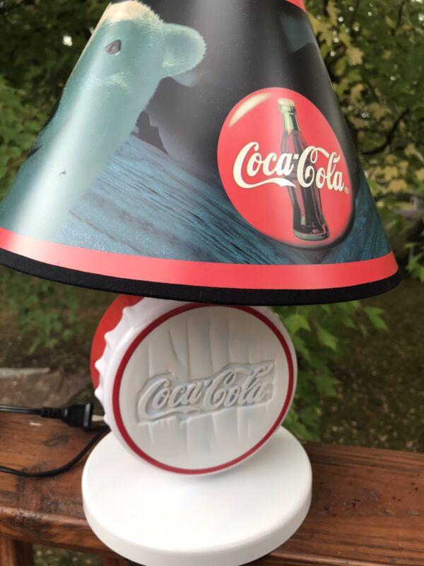 Sportscast Coca-Cola Bottle Cap Lamp 1997 W Box Polar Bear Tested