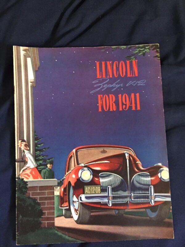 1941 Lincoln Zephyr V12 Color Brochure Catalog Prospekt