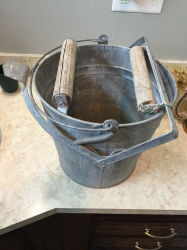 Vintage Galvanized Mop Bucket & Wood Rollers Step Down