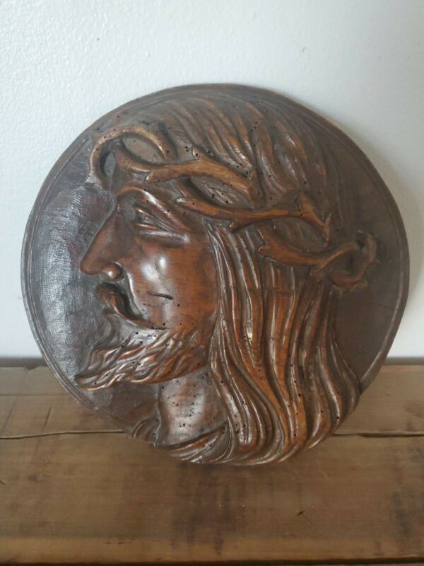 19thc gothic oak panel carving of Jesus Christ. Dating c.1860.