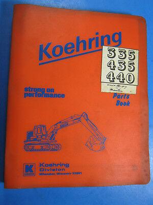 Koehring 335 435 440 Excavator Parts Book Catalog