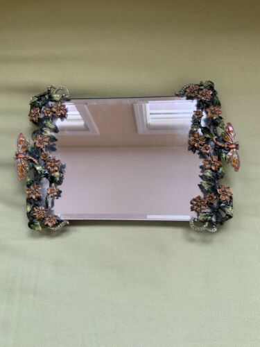 Vintage Hand Painted Enamel Floral and Dragon Fly Vanity Tray