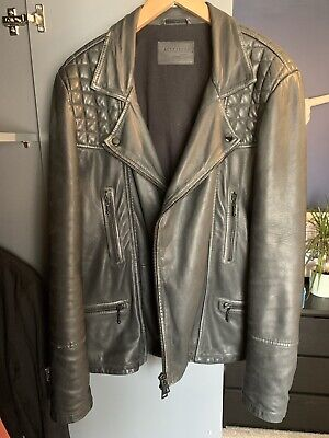 All Saints Cargo Biker Leather Jacket Black Size L/40