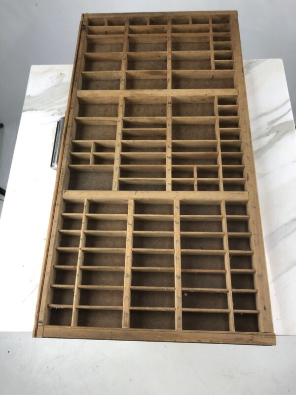 Antique Vintage Hamilton Print Cabinet Wood Block Type Drawer Shelf Tray Wooden