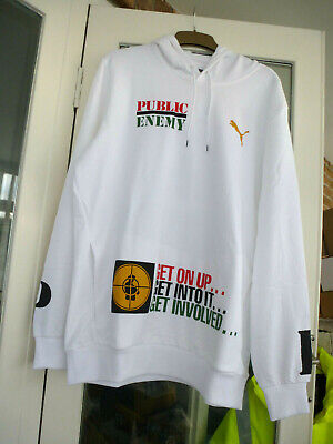 BNWT WHITE PUMA PUBLIC ENEMY HOODIE / FIGHT THE POWER RAP HIP HOP - SIZE LARGE